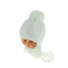 Czapeczka zimowa niemowlęca 42-46 biała 131A